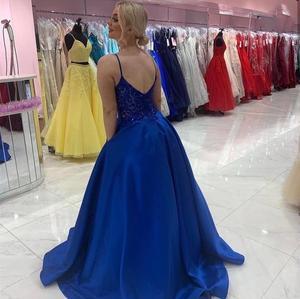 2020  prom dress royal blue floor length v-neck spaghetti strap satin pocket formal gowns backless women party elegant lace