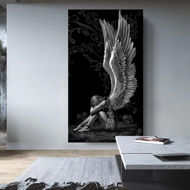Картина с дьяволом и ангелом, серый герой, рандомные и принты на холсте, домашний Декор, живопись, Постер для гостиной, картина