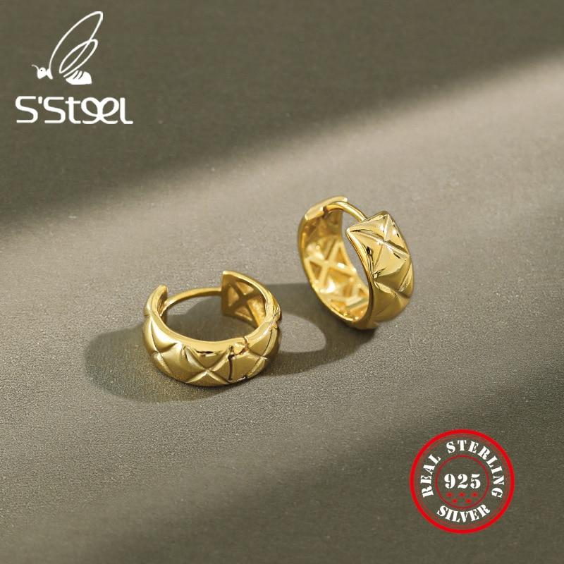 Pendientes pequeños de Plata de Ley 925 SSTEEL para mujer, bonitos aros minimalistas coreanos, pendientes de oro, joyería Oorbellen