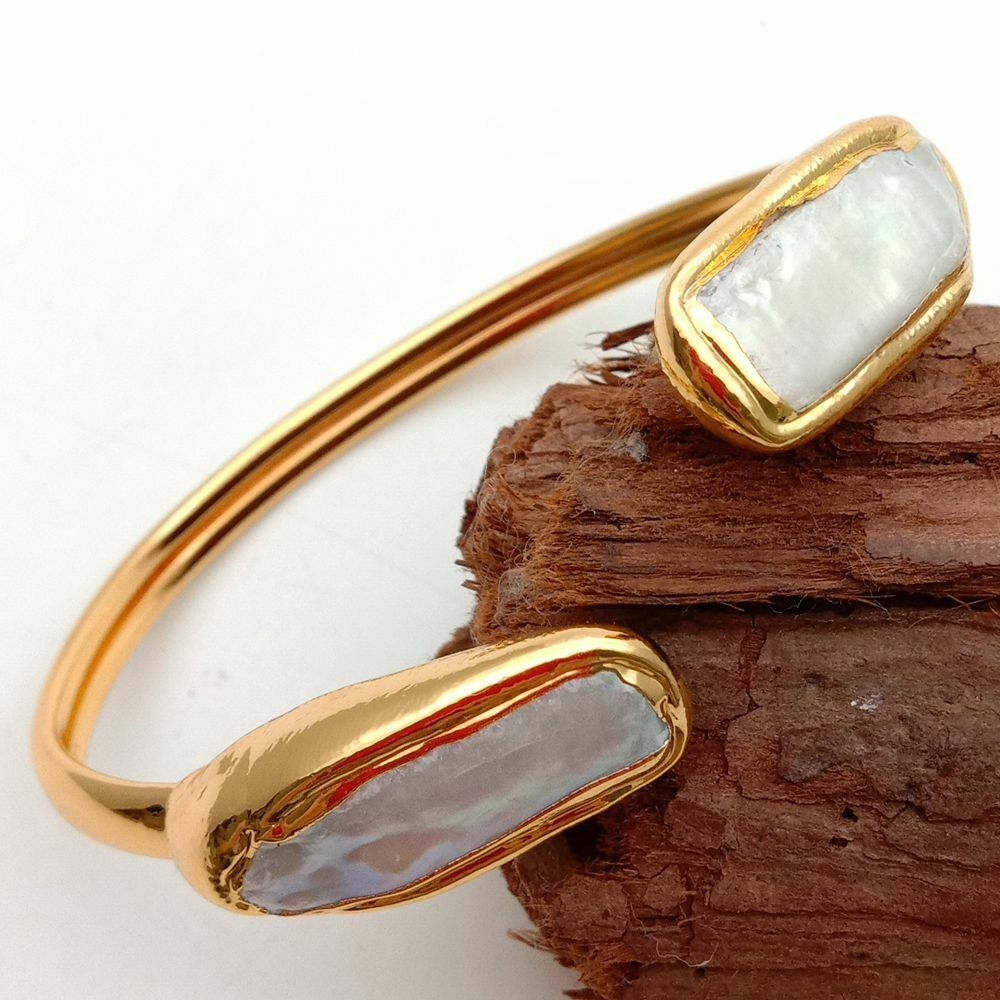 Cultured White Biwa Rectangle Pearl Golden Plated Bangle Bracelet