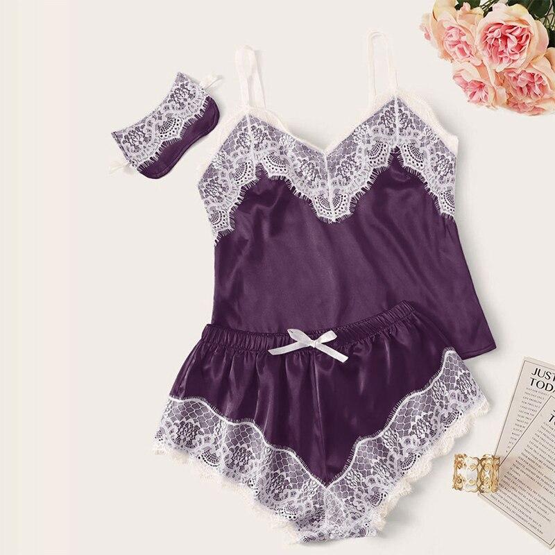 Pajama Sets Loungewear Women Two Piece Set Women V Neck Sling Lace Sleepwear Blindfold Multicolor Fashion Women pyjama satin