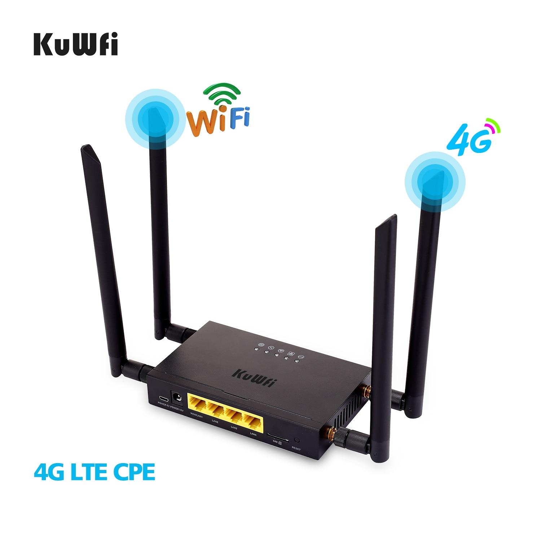 Kuwfi 4g lte wifi roteador sem fio 300 mbps cat 4 de alta velocidade wifi cpe com slot para cartão sim e 4pcs antenas externas até 32 usuários