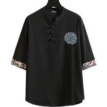 2020 Oversized mens 160kg 7XL 8XL 6XL 10XL summer mens large size Linen short sleeve tshirt casual o-neck loose Black Home