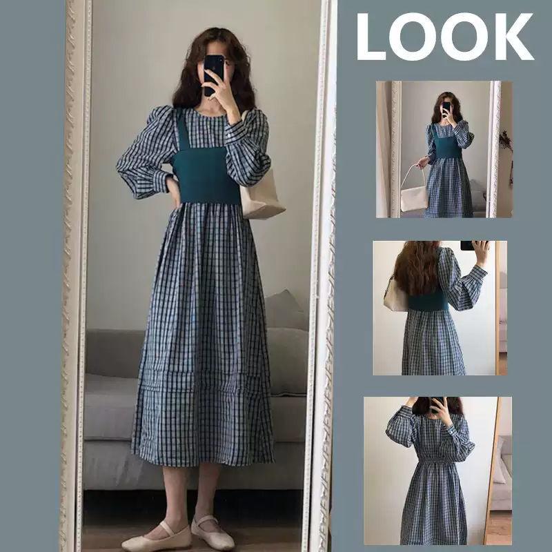 مجموعة واحدة لخريف 2020 النسخة الكورية الجديدة من الملح يمكن أن تكون سترة فتاة رائعة يرتديها فستان ريترو طقم من قطعتين