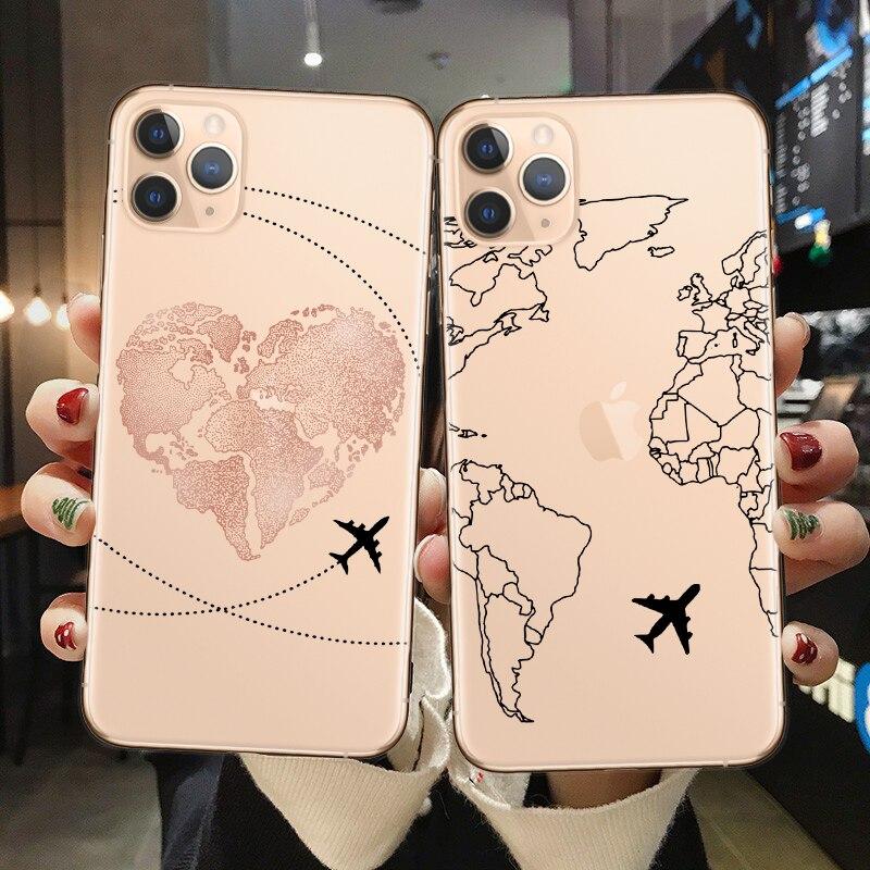 Mapa del mundo Viajes planes claro funda suave del teléfono para iPhone X XS Max 7 8 6 Plus XR casos para iPhone 11Pro Max cubierta del teléfono