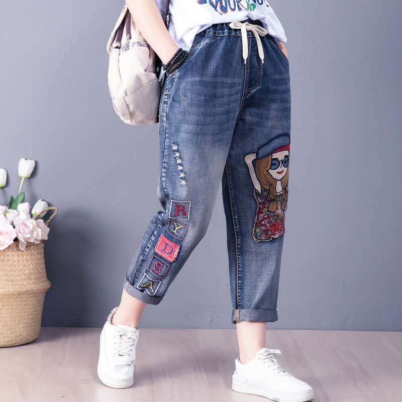 Cartoon Gril Embroidery Jeans Women Spring Fashion Elastic Letter Patchwork High Waist Denim Harem Pants Lady Casual Trousers
