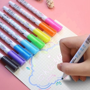 8 Pcs/set Art Markers Pen Double Line Outline Marker Diy Album Scrapbooking Glitter Markers for Drawing Art Supplies Stationery
