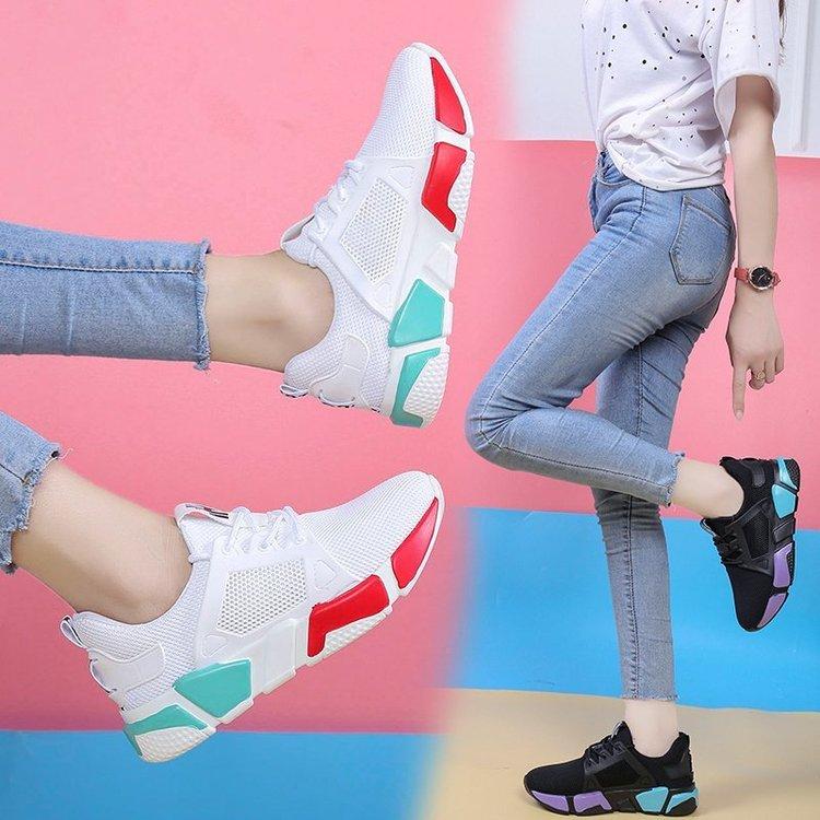 Zapatos deportivos para mujer con plataforma y cordones, transpirables, de malla, para...