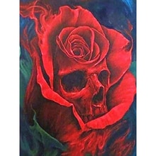 "100% completo 5d diy daimond pintura ponto cruz ""crânio & flores"" 3d diamante mosaico redondo strass pinturas bordados"