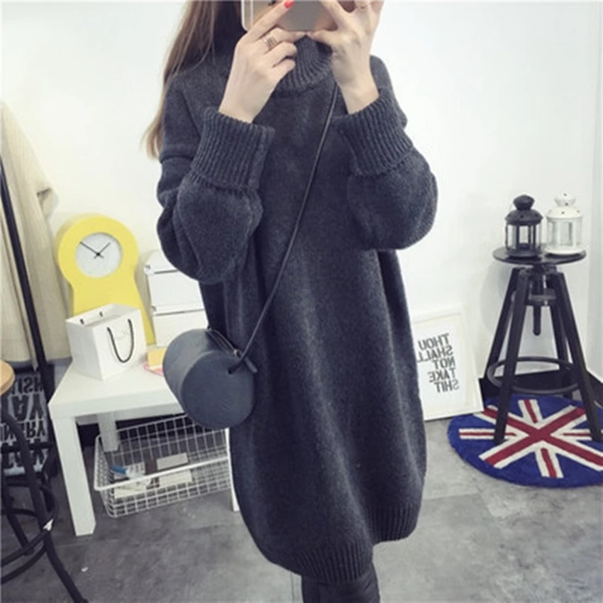 9 10 length sleeve cute doll collar plaid maternity dresses 2019 autumn fashion large size loose dress for pregnant women ql8857 YOOAP Autumn and winter long maternity dress high collar solid color thickening hood loose large sweater pregnant women dress