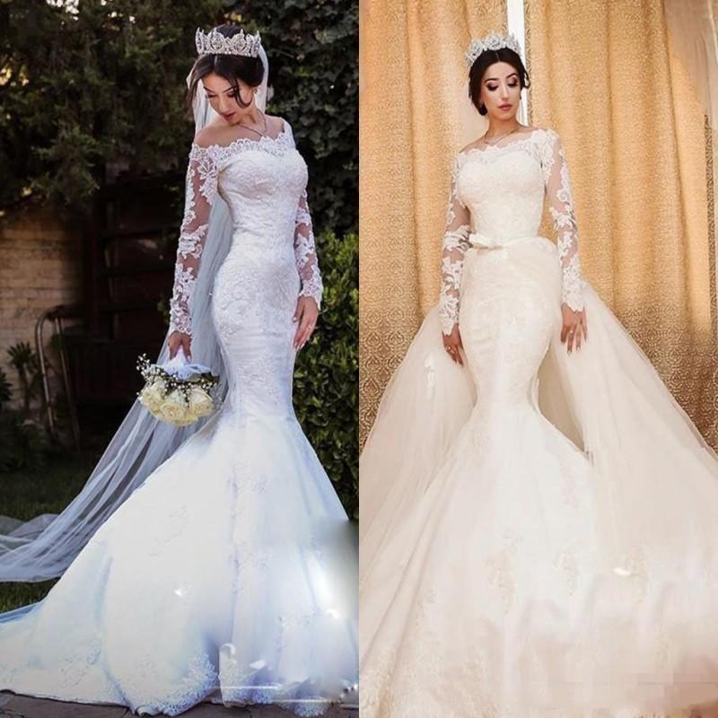 Vestido de casamento elegante da sereia do laço da luva longa com trem destacável novo 2020 vestidos de noiva do overskirt do pescoço do barco feito sob encomenda