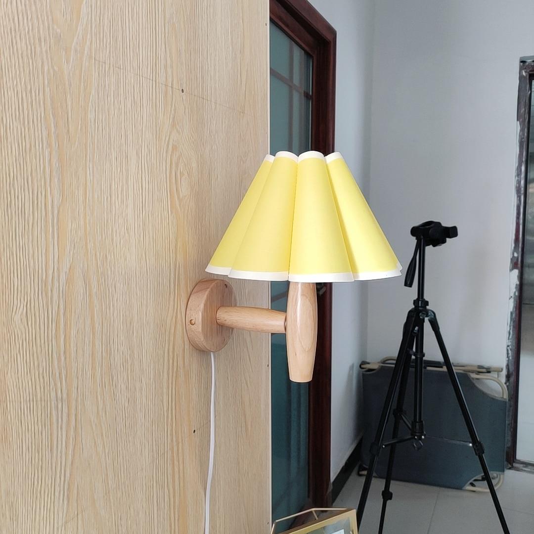 Xianfan-مصباح حائط على الطراز الياباني ، قاعدة خشبية ، لغرفة النوم ، المطبخ ، دراسة ، قماش عتيق ، بتلة ، ضوء ليلي E27