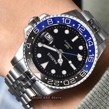 40mm PARNIS 블랙 다이얼 사파이어 크리스탈 GMT 자동식 기계식 무브먼트 축광 남성용 시계 세라믹 베젤 기계식 시계