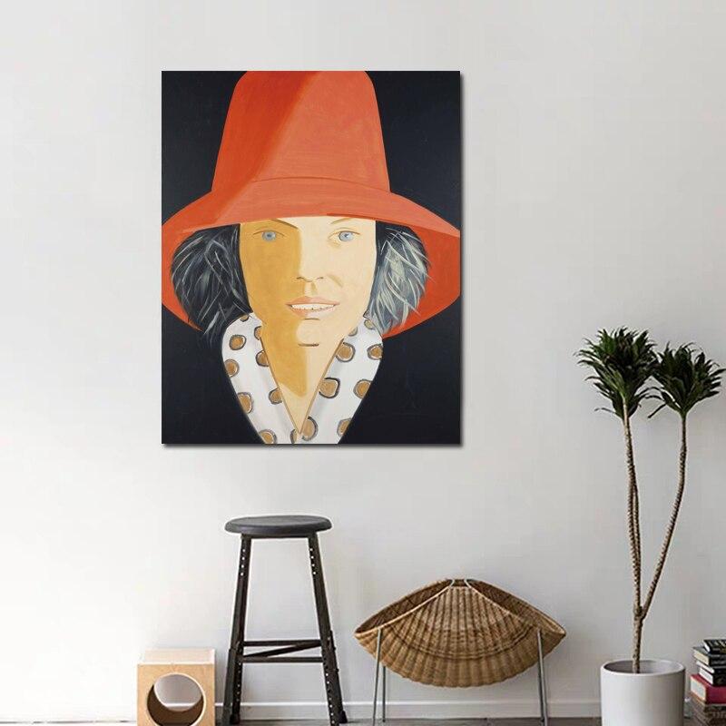 Alex Katz Indossare UN Cappello Rosso della Tela di Canapa Pittura Soggiorno Stampa Della Decorazione Della Casa Moderna di Arte Della Parete Della Pittura A Olio Poster Immagini telaio