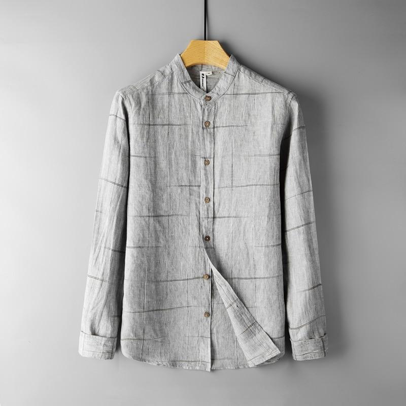 100% الكتان العلامة التجارية قميص الرجال منقوشة طويلة الأكمام القمصان السوداء للرجال قمصان الموضة الذكور الخريف مريحة قميص رجل camisa قميص