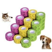 Vendaje elástico de moda para mascota perro gato vendaje pierna cubierta Protector Correa médica vendaje no tejido vendaje cohesivo