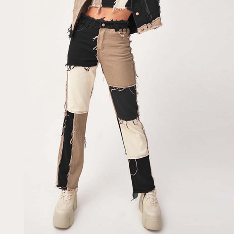 فتاة عالية الخصر المرقعة مستقيم السراويل أنيقة المرأة الشارع الشهير اللون كتلة الجينز العصرية مثير بنطلون أسود غرزة الخريف السراويل