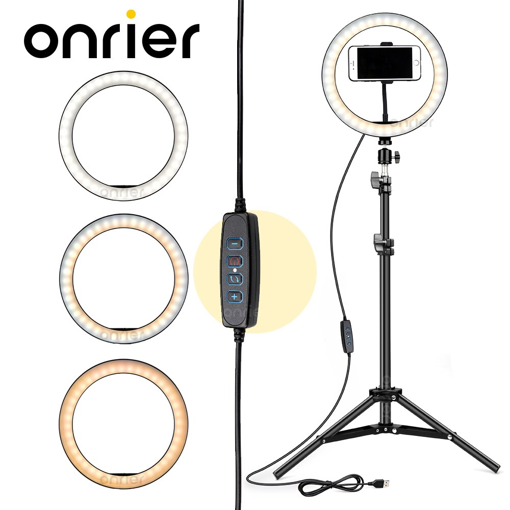 Anillo de luz con trípode y soporte para teléfono, lámpara de anillo de Selfie para Youtube, maquillaje, Video, iluminación en vivo, fotografía tik tok