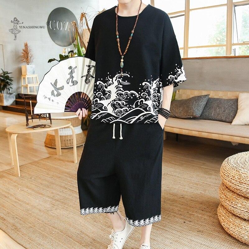 الرجال قصيرة الأكمام قميص السراويل قطعتين الدعاوى ثوب الكيمونو الياباني الصيف تي شيرت مطبوع السراويل اليابان Harajuku Yukata سترة زي