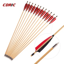 6/12/24 pièces traditionnelle flèche en bois à la main avec rouge 5 pouces bouclier plume de dinde pour Longbow tir à larc en plein air chasse tir