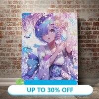 Affiches de peinture sur toile  tableau dart mural  anime REM Re Zero  pour decoration de salon  decoration de maison