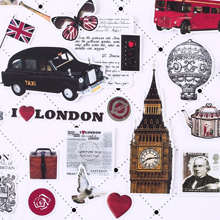 64pcs London past Scrapbooking Stickers Decorative Sticker DIY Craft Photo Albums
