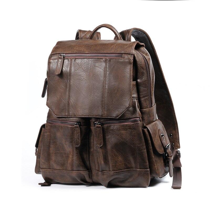 Mochila Retro de cera al óleo, mochila de viaje de escalada de montaña, mochila de hombre de Amazona al aire libre, mochila de moda, bolso escolar de gran capacidad