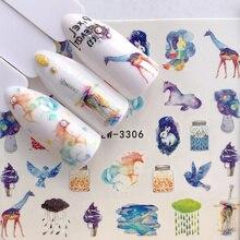 1 pièces eau ongle décalcomanie et autocollant fleur girafe Simple hiver curseur pour manucure Nail Art filigrane conseils