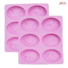 2 uds. 6 cavidades 3D abeja silicona molde para jabón de bricolaje arcilla vela hacer pastel Fondant entrega aleatoria