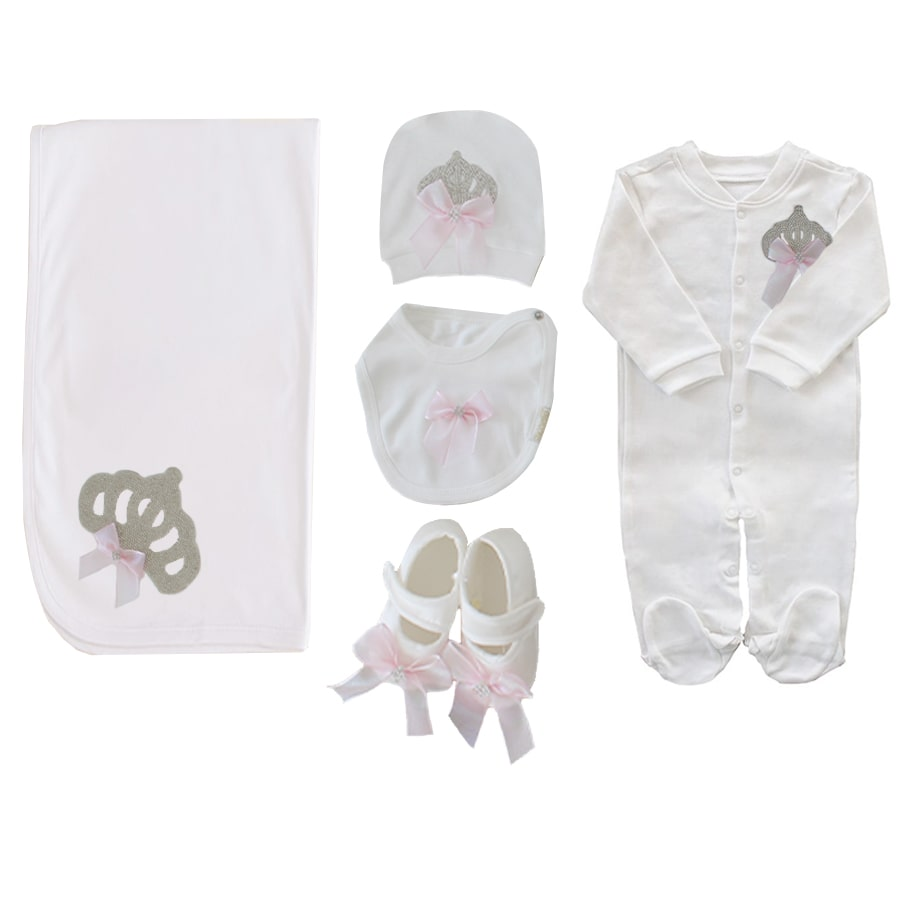 Queen Crowned 5 Piece Baby Girl Hospital Output Set
