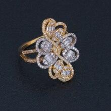 Mariée parler charme Unique trèfle à quatre feuilles anneaux Micro Zircon fiançailles anneaux de mariage pour les femmes bijoux de mariée