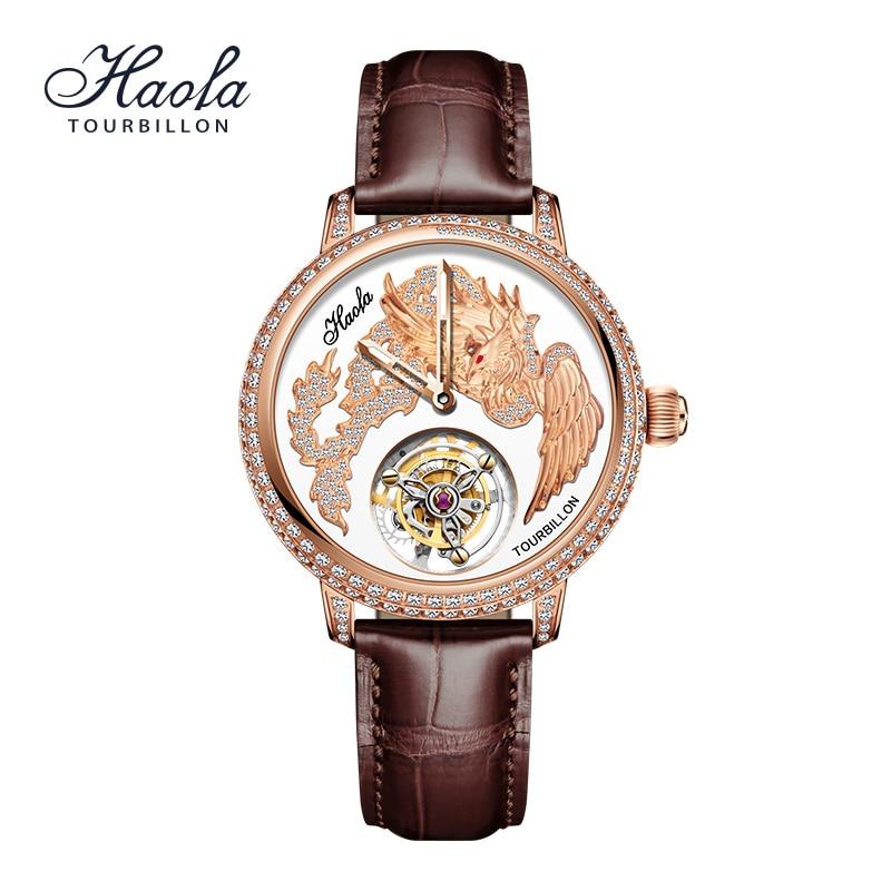 HAOFA Tourbillon Mechanical Manual Watch For Women Luxury Crystal Fashion Flying Tourbillon Sapphire Women Watch Waterproof enlarge
