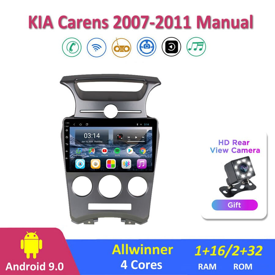 9 carips ips android 9.0 rádio do carro multimediakia kia carens 2007-2011 navegação gps manual navi jogador estéreo automático 2din wifi