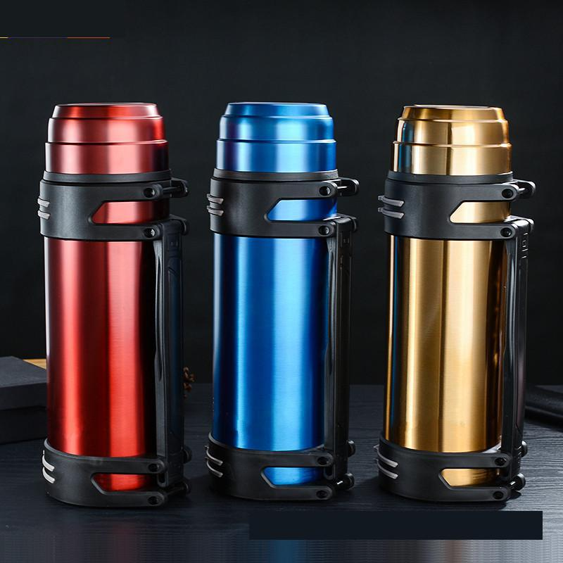 1.2l/1.6l/2l High Capacity Thermos Flask Thermal Water Bottle Double Wall Stainless Steel Drinking Cup Mug For Travel Camping