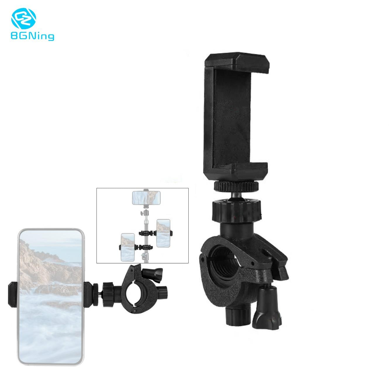 BGNing Mobile Phone Holder Bicycle Clip Adjustable Lockable Live LED Flash Selfie Stick Tripod Mount Clamp for Sports Cameras