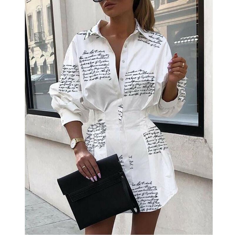 Meihuida Summer Autumn Women Long Sleeve Mini Shirt Dress Button V Neck Three Quarter Sleeve Waist C