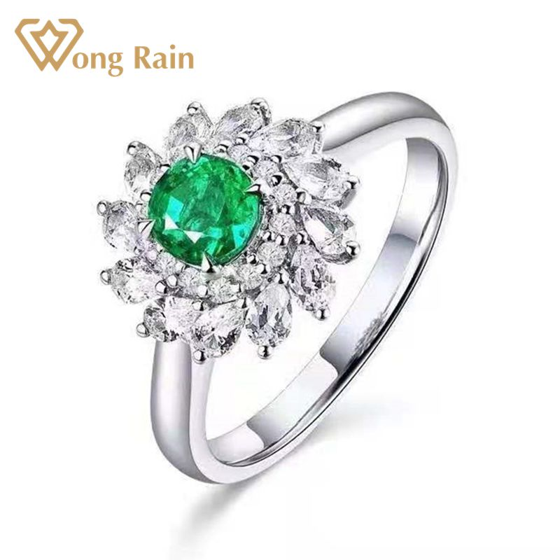 Wong Rain 100% 18K Solid Gold 0.52 CT Natural Emerald White Sapphire Wedding Engagement Rings Customized Rings Fine Jewelry