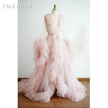 Robe de chambre Tulle Robe de mariée Robe Hollywood Robe de Performance tenue Chic glisser reine materinité Robe de photographie