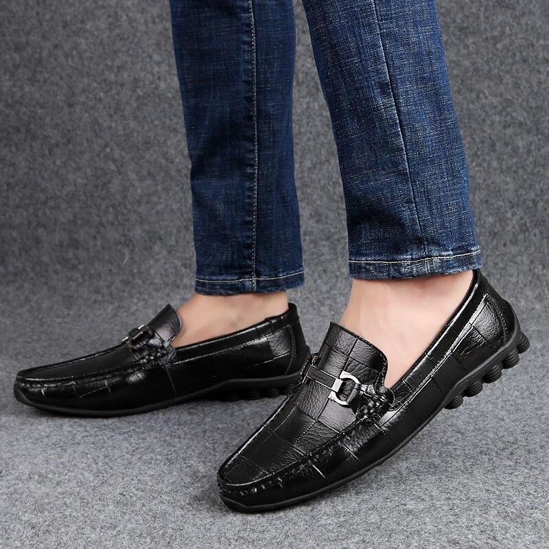 Mocasines de cuero genuino para hombre, mocasines, zapatos de hombre, zapatos informales de verano para conducir en barco, mocasines para hombre, talla grande 47