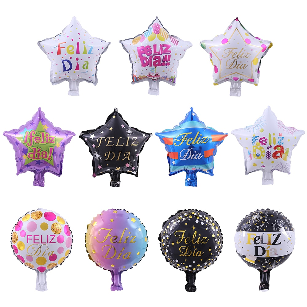 10pcs 10inch Spanish Happy Every Day Foil Balloons Star Round Feliz Dia Globos For Kids Event Party Decorations Baby Shower