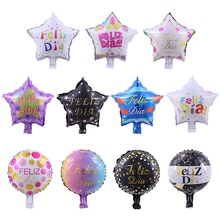 10pcs 10inch Spanish Happy Every Day Foil Balloons Star Round Feliz Dia Globos For Kids Event Party