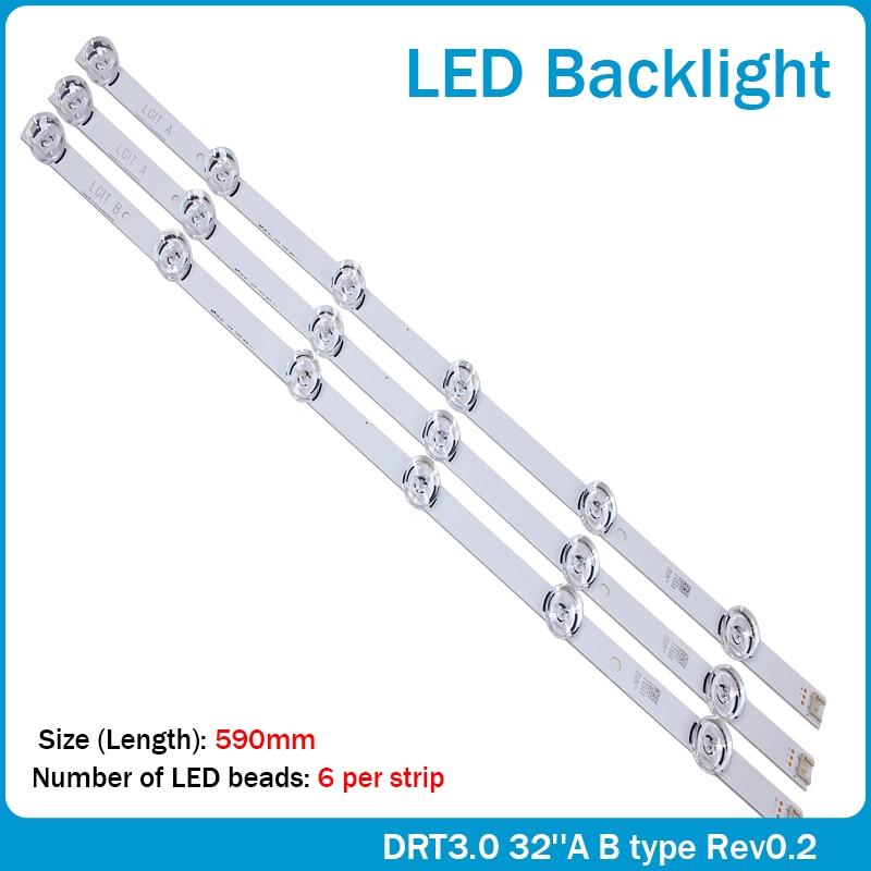 100% Новый оригинальный 59 см Светодиодная подсветка 6 светодиодов для LG innotek drt 3,0 32