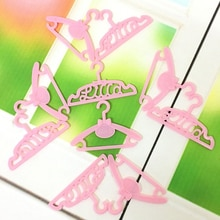 10 Pcs/Lot Pink Hangers For Doll Pretend Play New year Girls' Gift Dress Clothes Accessories