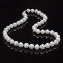 Nouveau AAA + 9-10mm véritable blanc eau douce collier de perles de culture 17
