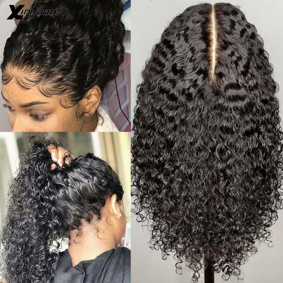 Deep Part 13x6x1 Lace Front Human Hair Wigs For Women Deep Jerry Kinky Curly Glueless Brazilian Remy Pre Plucked Bleached Knots