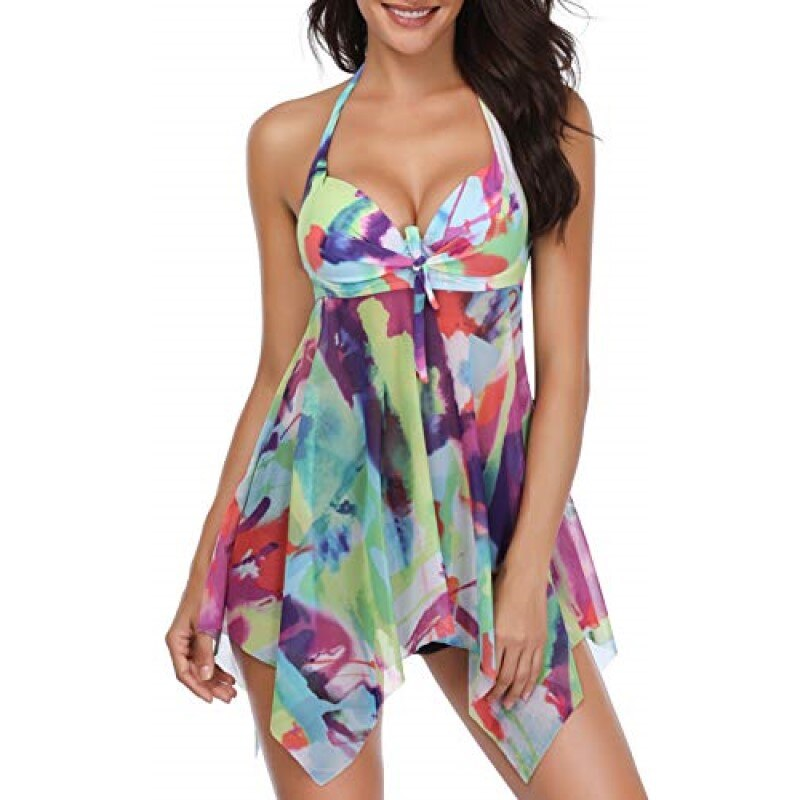 New Summer Women Floral Backless Two Pieces Swimsuit Tankini Push Up Bikini Set Halter Dot Print Tankini Beachwear Swimwear
