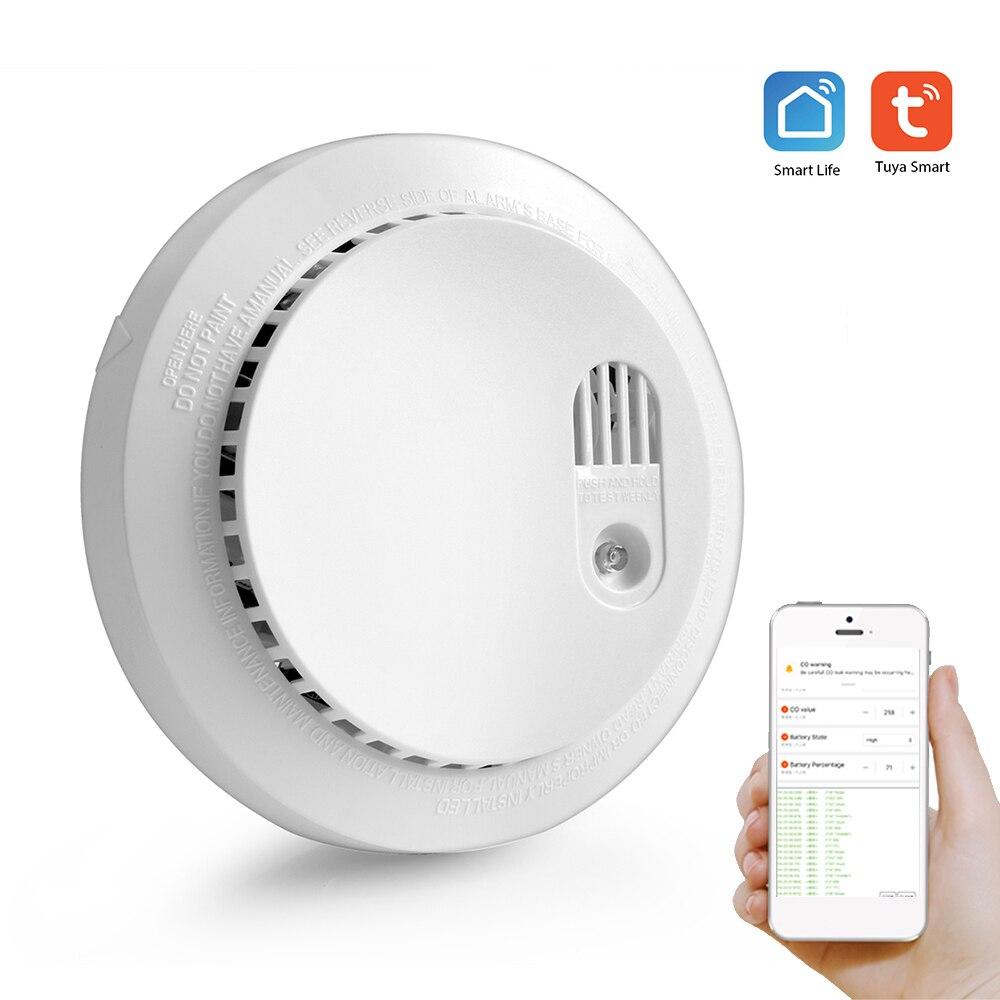 Wifi Carbon Monoxide Detector with Sound Warning Wifi Smoke Sensor Security Alarm System  APP SmartLife Tuya APP Remote Control