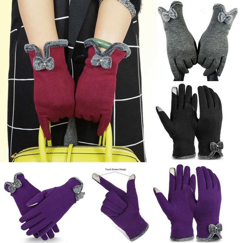 2020 nuevo invierno mujer Cachemira encaje caliente tres costillas lindo oso guantes doble grueso mujeres muñeca juguetes pantalla táctil guantes de conducción