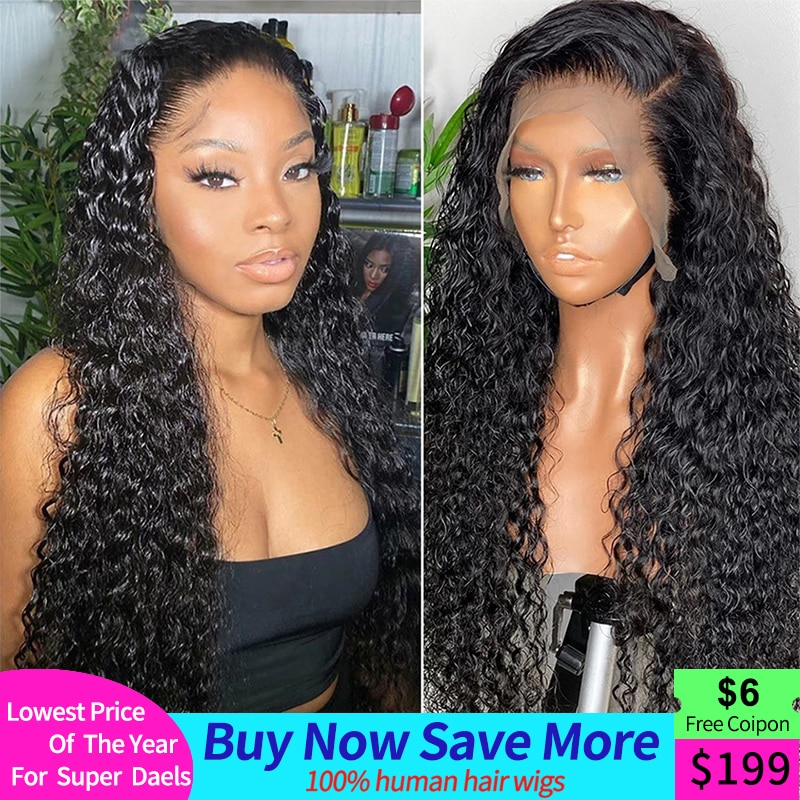 Brazilian Water Wave Lace Front Human Hair Wigs Pre  Lace Wig With Baby Hair Natural Hairline Body Pre-plucked Lace Front Wigs