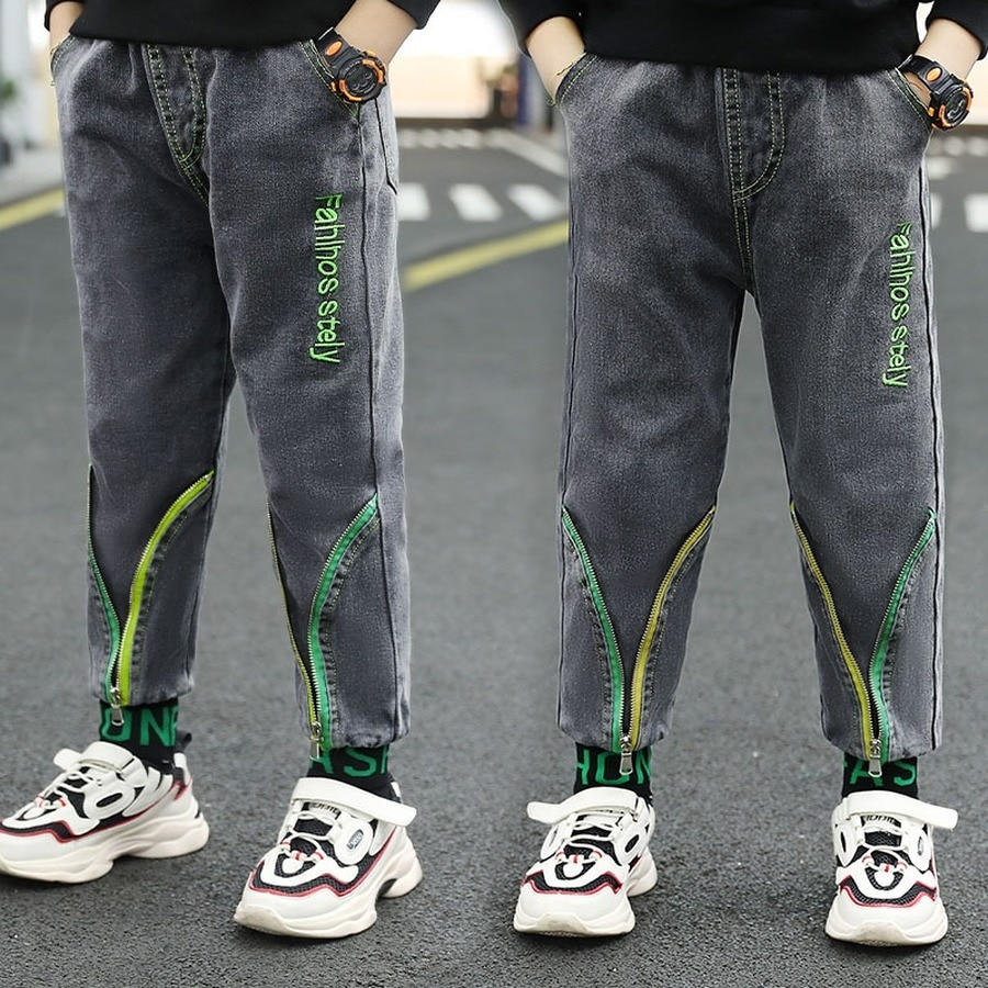 Jean Pant for Boys Denim Pants Children Jean Trousers Spring Autmn Full Pant Kids Light Denim Zipper Casual Pants for 110 To 160